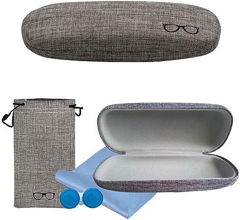 Custodia protettiva per occhiali retro rigida per occhiali 2 pezzi blu e verde foderata in lino