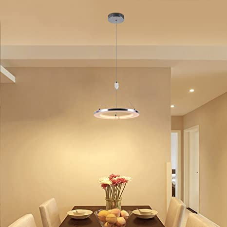 CHYING Modern Pendant Light, Mini LED Chandeliers Ceiling Light, 1-Ring,  15W, Warm White, 3000K, Adjustable Height Hanging Light Fixture for Kitchen  ...