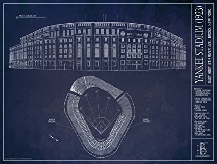Amazon old yankee stadium 1923 blueprint style print old yankee stadium 1923 blueprint style print unframed 18quot malvernweather Choice Image