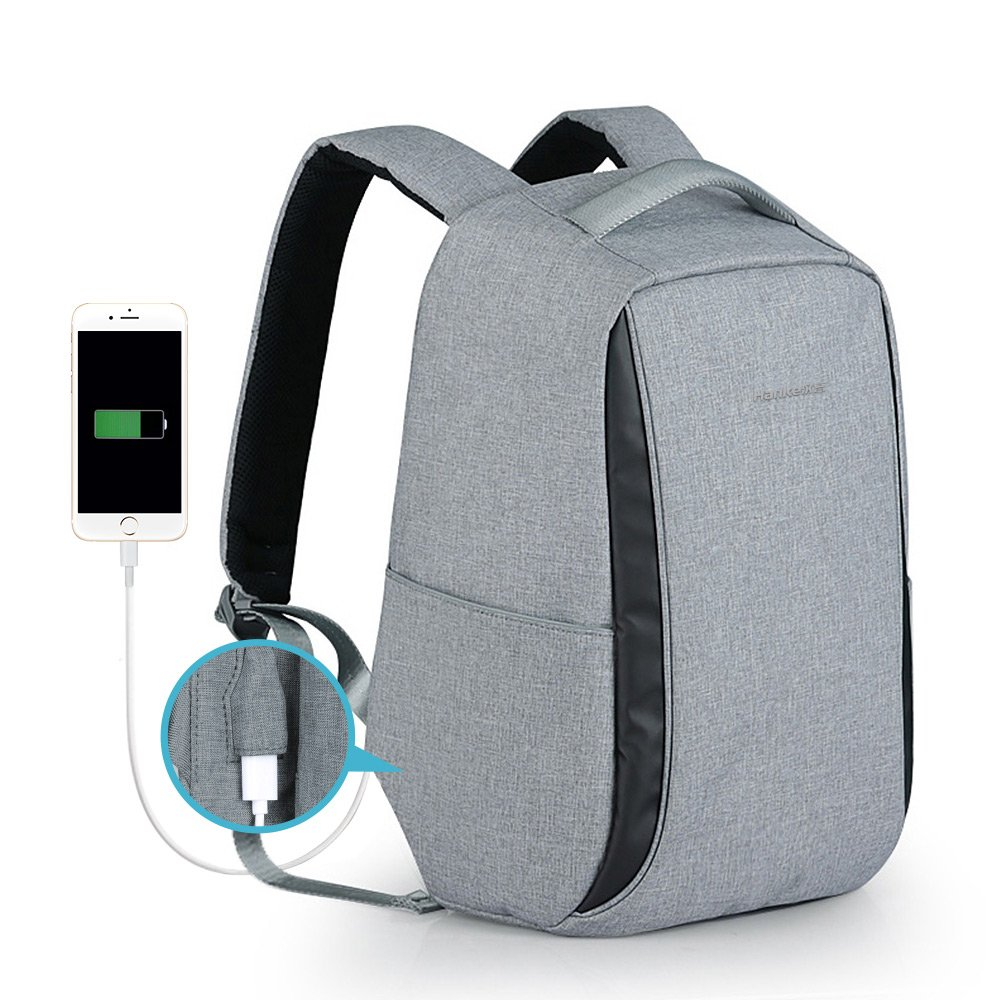 Hanke Anti-Theft Waterproof Travel Business Laptop Backpack School Bag With USB Charging Port H6672-Grey