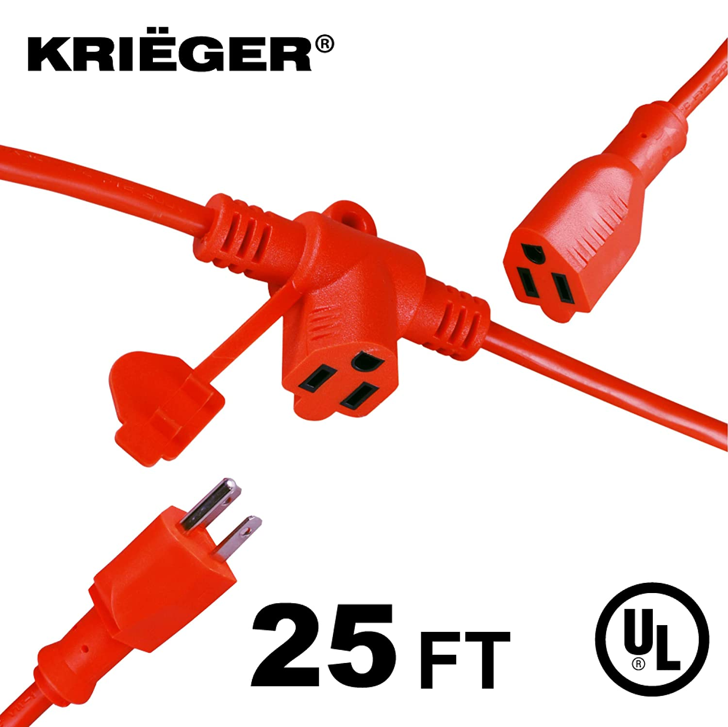 KRIË GER Heavy Duty Multi-Outlet Outdoor Extension Cord with Evenly-Spaced Outlets- 3 AC Power Plugs in 1 Extension Cord - Ideal for Indoor and Outdoor Lights and Appliances- 25 Ft Long KRIEGER