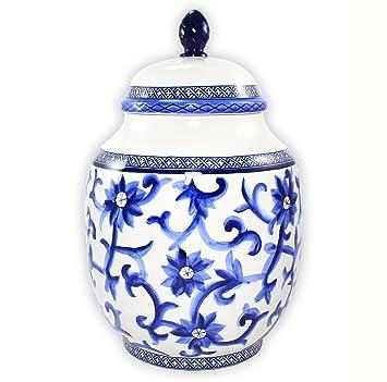 ralph lauren mandarin blue porcelain large ginger jar canister 12in - Ginger Jars