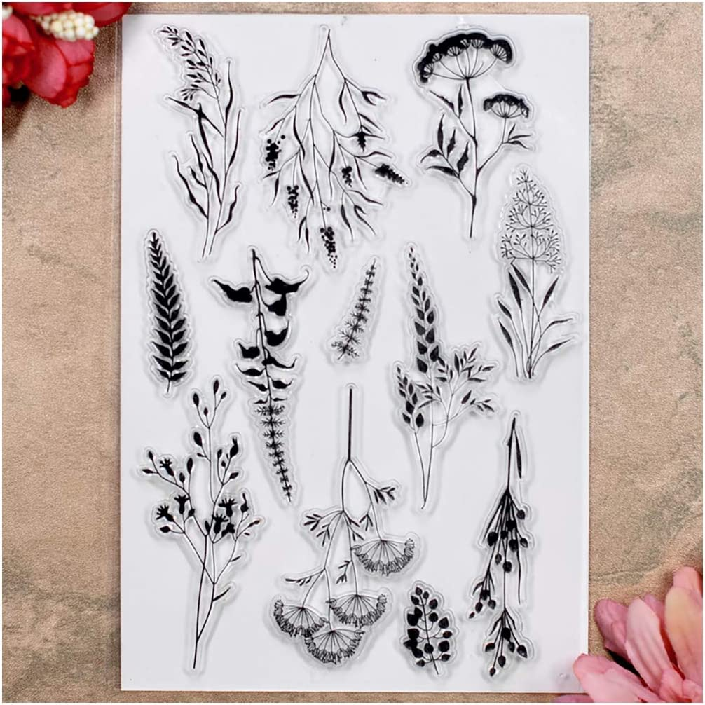 Kwan Crafts Leaves Flowers Clear Stamps for Card Making Decoration and DIY Scrapbooking
