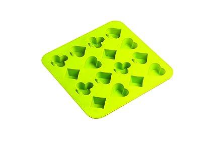 Siliconezone - Molde para chocolate, diseño de póquer, color verde lima