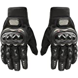 Tcbunny Pro-biker Motorbike Carbon Fiber Powersports Racing Gloves (Black, Large)