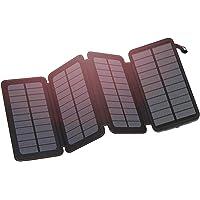 FEELLE ソーラーチャージャー 20000mAh 2USB 出力付きh ポータブルパワーバンク 防水 太陽光で充電 バッテリーパックiPhone, iPad, Samsung,および他のスマートホンと互換性あり