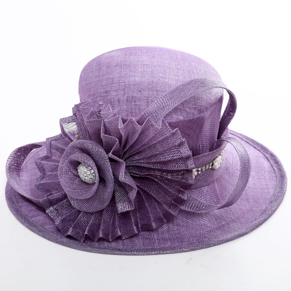 June's Young Women Hat Big Flower Summer Hat Sinamay Wide Brim(Purple) by June's Young (Image #4)