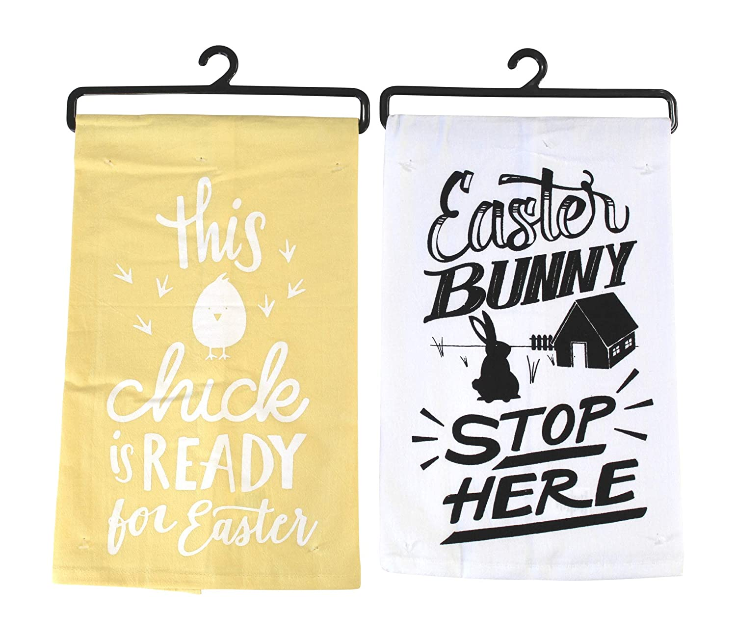 Cute Funny Bunny Humor Yellow and White Easter Hand Kitchen Towels
