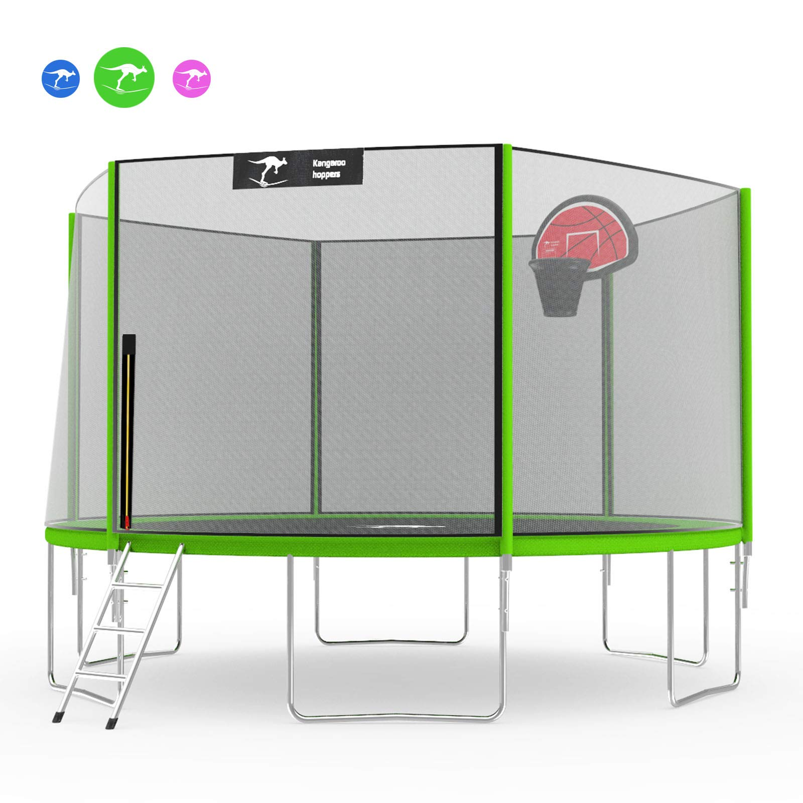 Kangaroo Hoppers 12 14 FT Trampoline with Safety Enclosure Net, Basketball Hoop and Ladder - 2019 Upgraded - Kids Basketball Hoop Trampoline - TUV and ASTM Tested - Multiple Color Choices