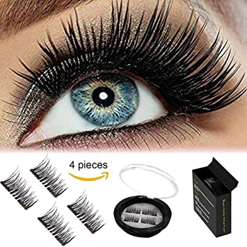3bbf2fd8079 Amazon.com : 2018 Upgraded New Magnetic Eyelashes Dual Magnet NO-Glue 3D  Reusable Full Size Premium Quality Natural Look Best Fake Lashes Extensions  One Two ...