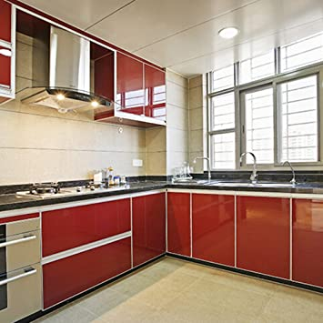 Yazi Kitchen Contact Paper Self Adhesive PVC Shelf Liner ,24x98 Inches,Red