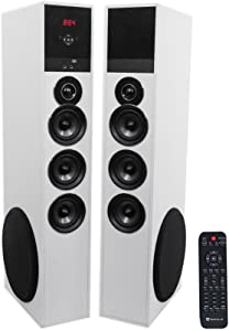 """Rockville TM150W White Powered Home Theater Tower Speakers 10"""" Sub/Blueooth/USB"""