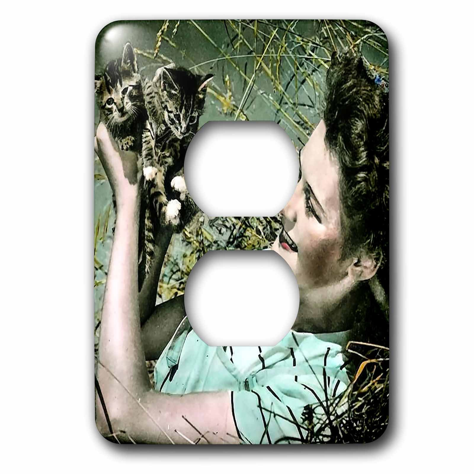 3dRose Scenes from the Past Magic Lantern Slides - Woman Lying in Grass and Holding Kittens Vintage 1930s Cute - Light Switch Covers - 2 plug outlet cover (lsp_269966_6)