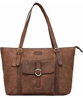 bdf12c336906 Leaderachi Women s Brown Hunter Leather Tote Bag - Ragusa  Amazon.in ...