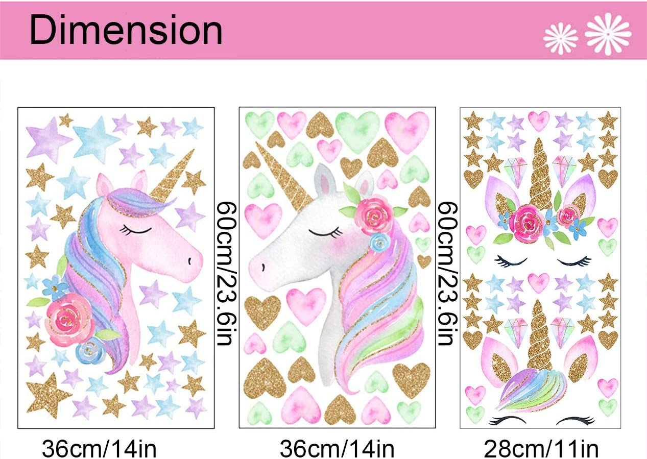 LABOTA 3 Hojas Unicorni Pegatinas De Pared Estilo A 127PCS Patr/ón de Unicornio Pegatinas para ni/ños Sala Dormitorio ni/ñas habitaci/ón decoraci/ón
