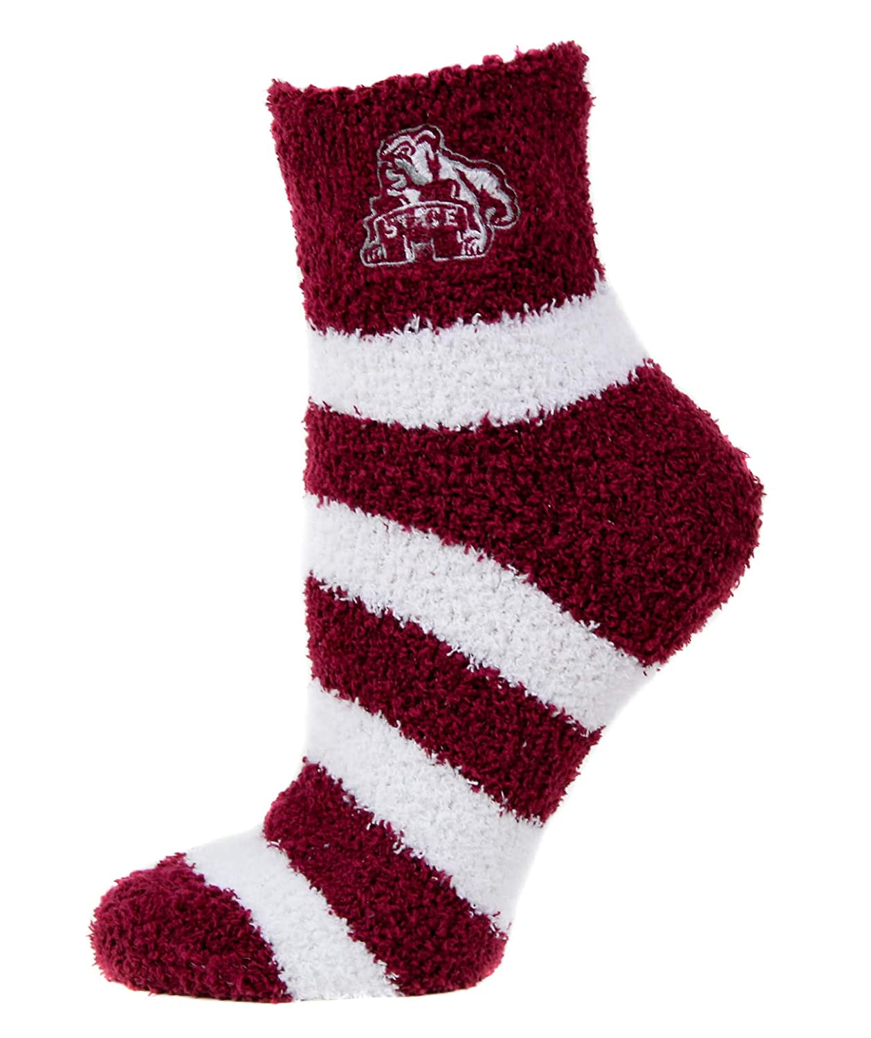 One Size Donegal Bay NCAA Mississippi State Bulldogs Unisex Mississippi State Bulldogs Striped Fuzzy SockMississippi State Bulldogs Striped Fuzzy Sock Maroon//Black