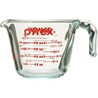 Pyrex 6001074 Prepware 1-Cup Measuring Cup, Clear with Red Measurements