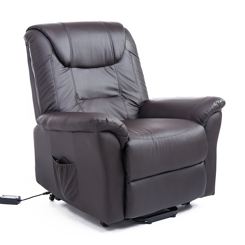 HomCom 42'' Infinite Position Electric Lift Chair Recliner - Dark Brown