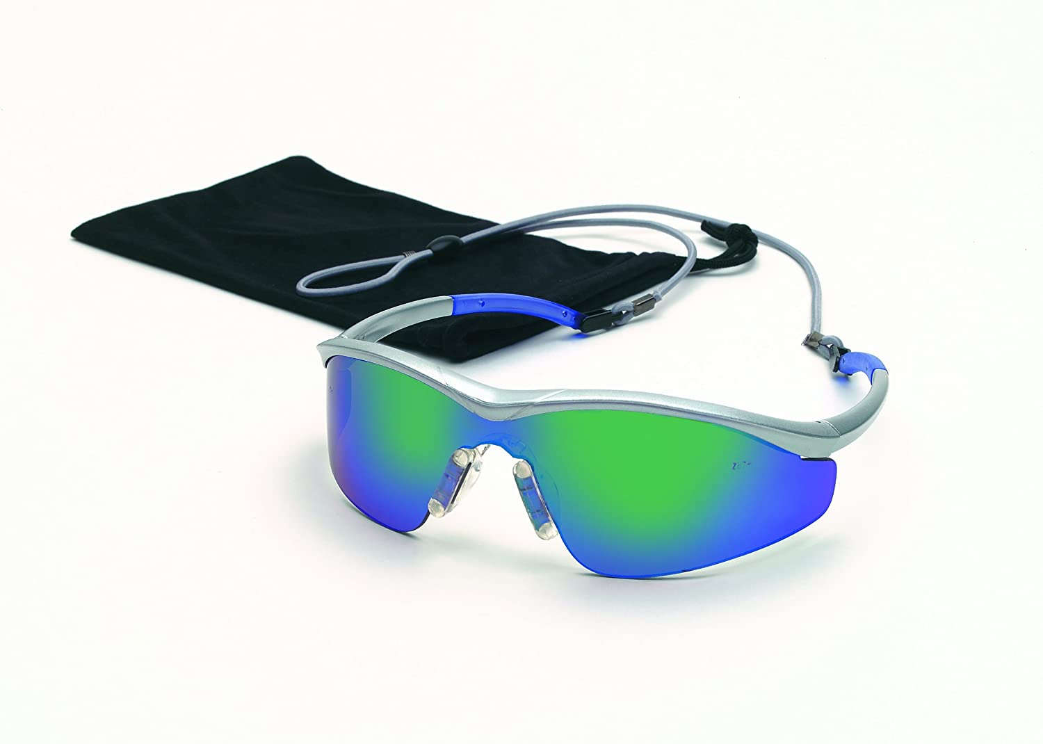 MCR Safety T114G Triwear T1 Hybrid Temple Design Safety Glasses with Steel Frame and Emerald Mirror Lens