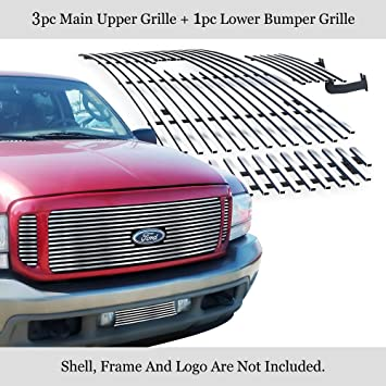 APS Compatible with 1999-2004 Ford F250 F350 F450 Excursion Bumper Black Billet Grille Grill Insert