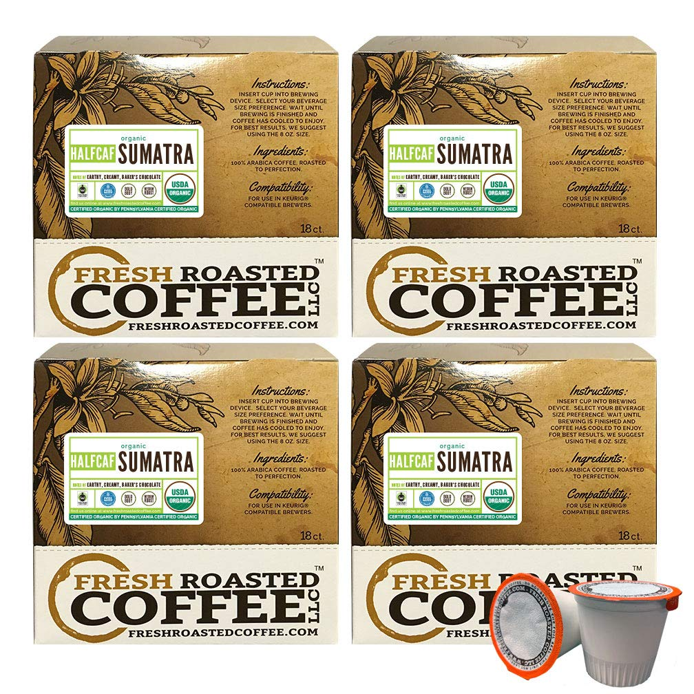 Fresh Roasted Coffee LLC, Swiss Water Half Caf Organic Sumatra Coffee Pods, Medium Roast, Fair Trade, Rainforest Alliance, Capsules Compatible with 1.0 & 2.0 Single-Serve Brewers, 72 Count by Fresh Roasted Coffee