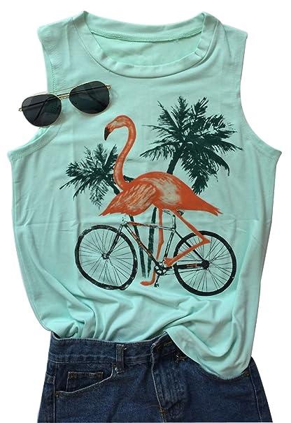 49abe0cc187a9 Amazon.com  Women s Animal Flamingo Bird Graphic Tank Tops Sleeveless Vest  T-Shirt  Clothing