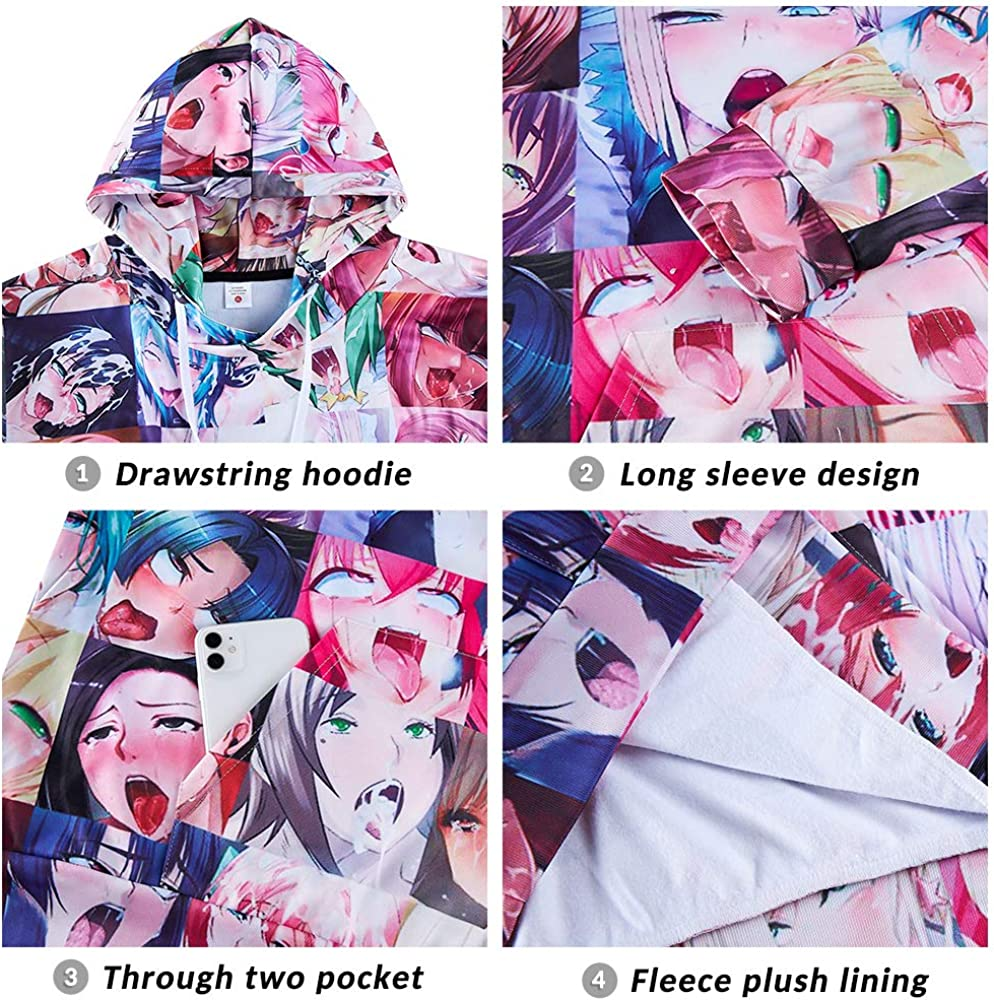 Fromdream Ahegao Shirt Mens Anime Hoodie 3D Printed Face Gym Shirt Sweatshirt Clothes Comfy Apparel Suit Home Tops