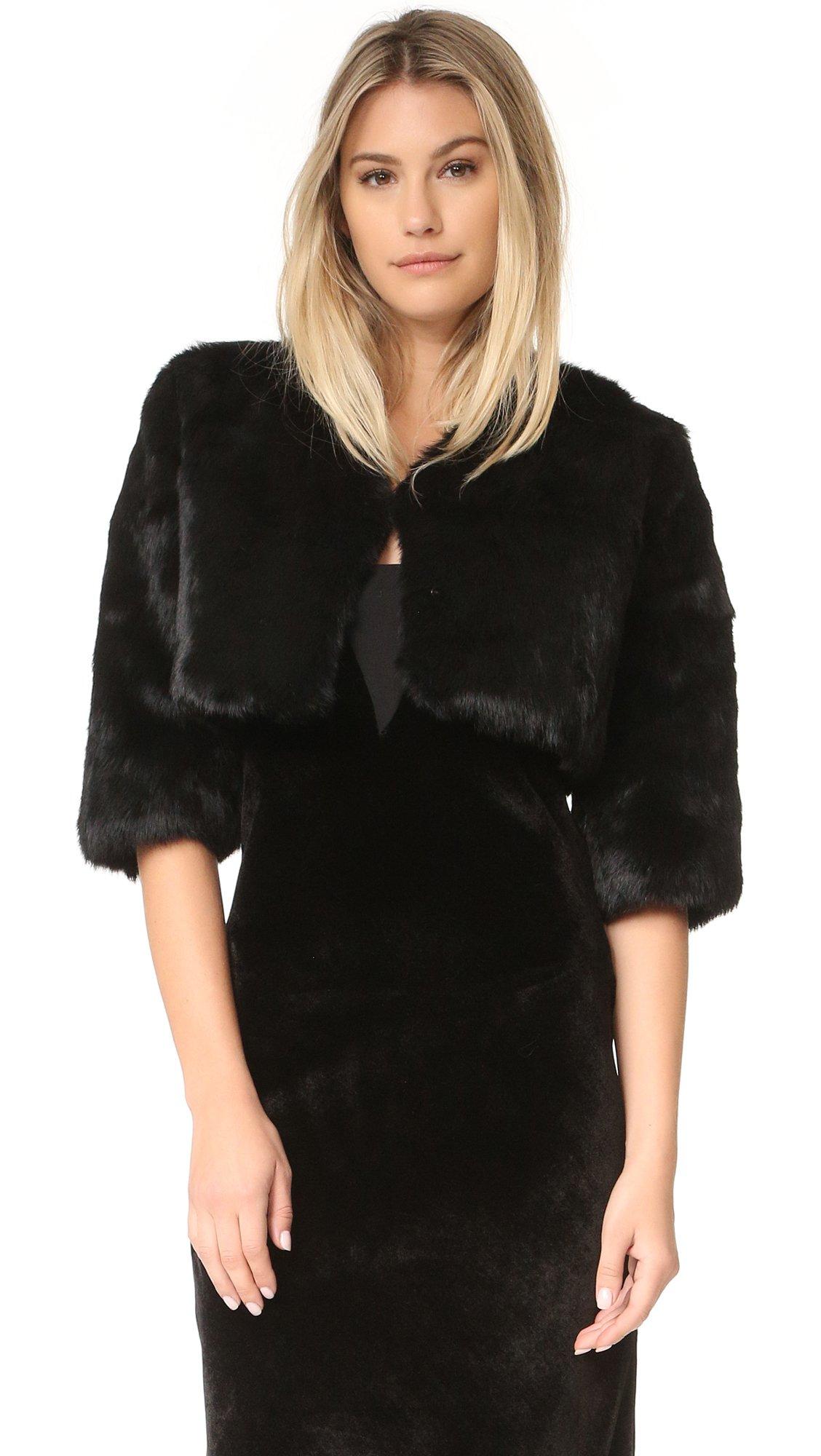 Adrienne Landau Women's Little Fur Jacket, Black, One Size