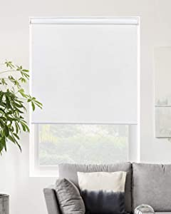 "Chicology Cordless Roller Shades Snap-N'-Glide, Blackout Window Treatments Perfect for Living Room/Bedroom/Nursery/Office and More.Byssus White (Room Darkening), 31""W X 72""H"