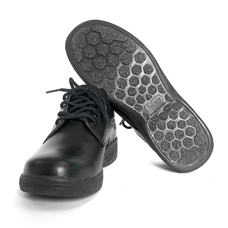 SOLEZEN Clutchman Black Cowhide Leather Antislip Work Shoes for Men - 6 Sizes