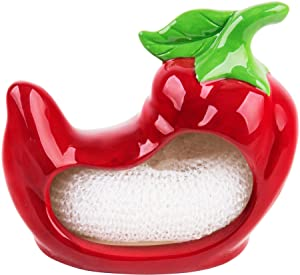 Red Pepper Shaped Scrubbie Sponge Holder Includes Scrubby Pad