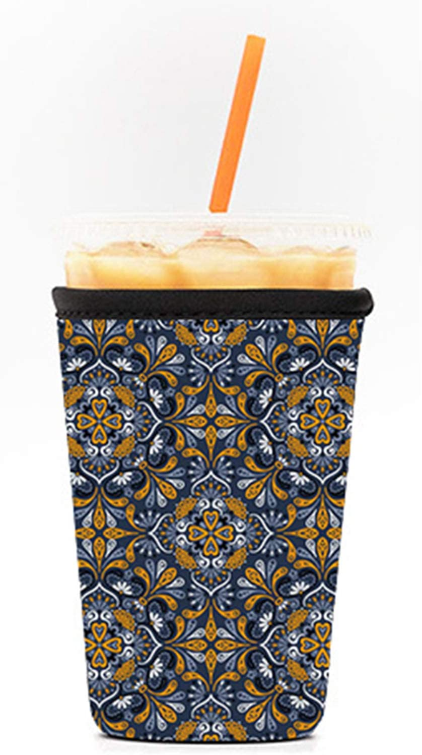 WILSLAT Reusable Iced Coffee Cup Insulator Sleeve for Cold Beverages and Neoprene Holder for Starbucks Coffee, McDonalds, Dunkin Donuts