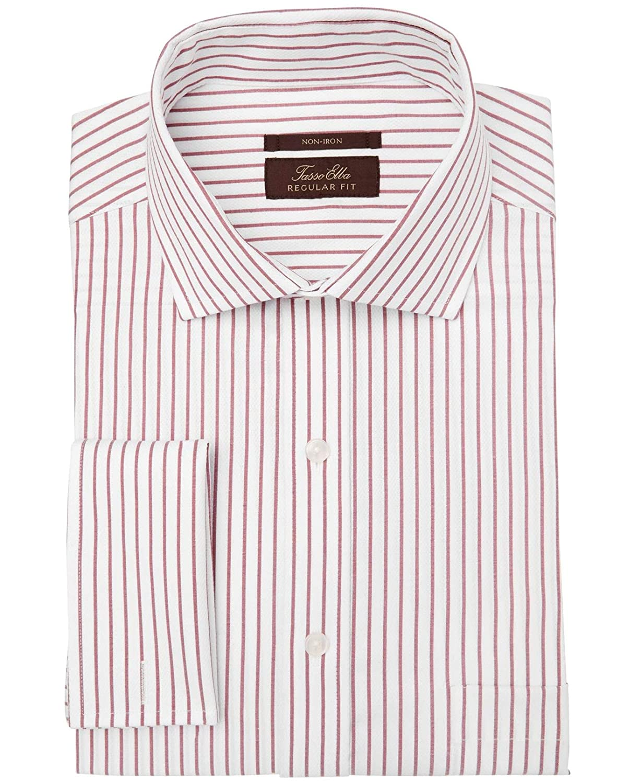 Tasso Elba Red Regular Fit Mens Striped Dress Shirt White 15 At