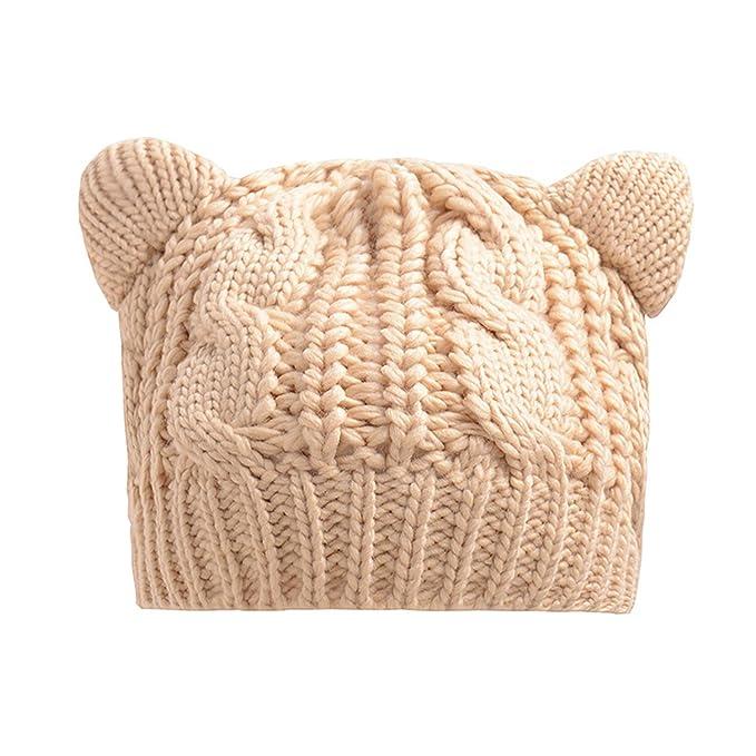 dbc2c37f196 MAIPOETYRY Women s Hat Cat Ear Crochet Braided Knit Caps Warm Snowboarding  Winter (Beige ...