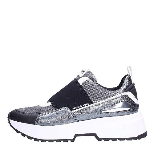 MICHAEL by Michael Kors Cosmo Zapatillas de Cuero y Malla Plateado, Zapatilla de Mujer: Amazon.es: Zapatos y complementos