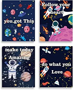 """SHIKAIA Unframed Inspirational Quotes Art Print, Outer Space Canvas Poster, Motivational Saying Wall Art Printing (8""""x10""""- 4 Pieces), Cartoon Planet Rocket Astronauts Solar System Wall Art Picture For Nursery Classroom Kids Bedroom Decor"""