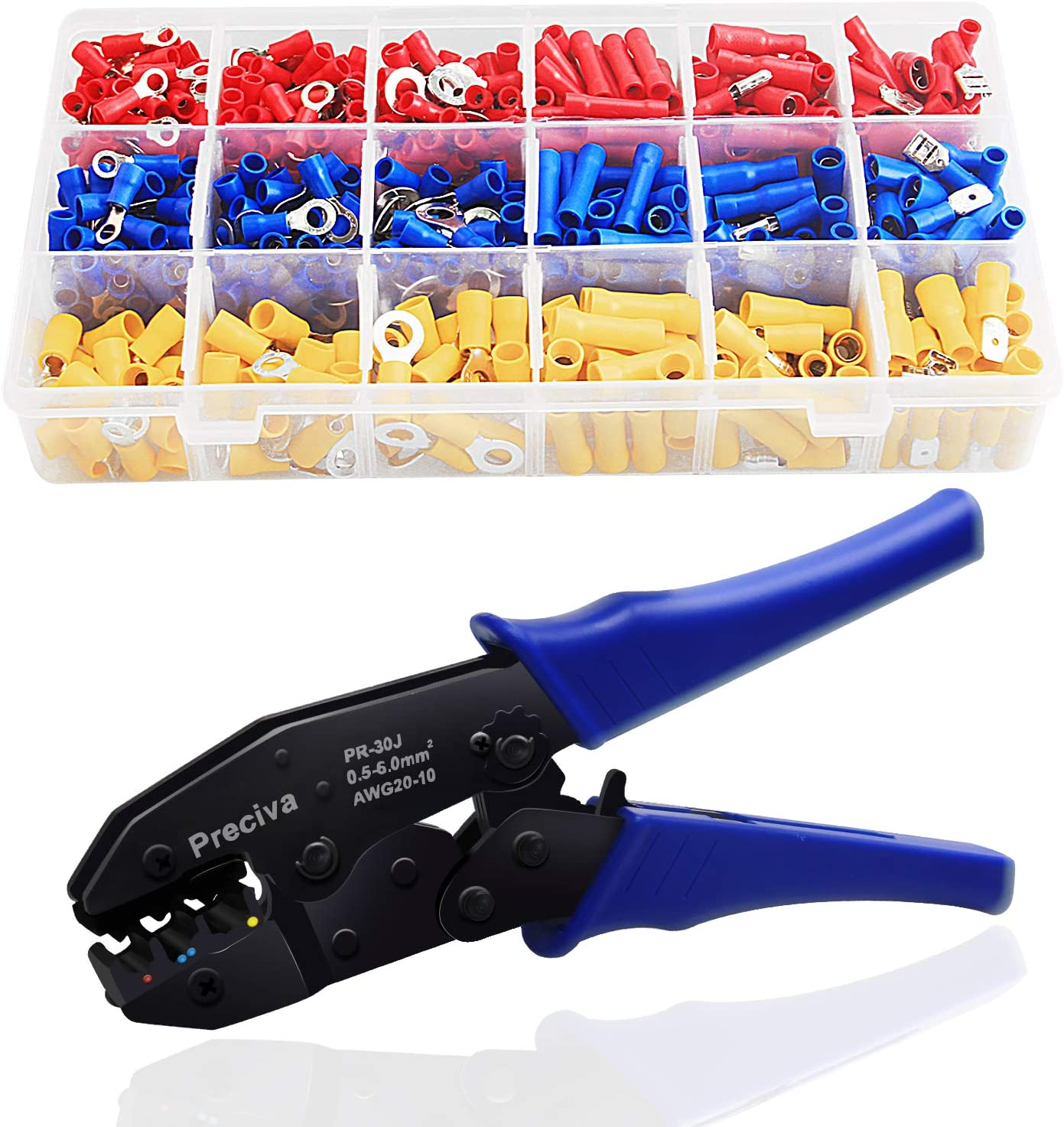 Wire Terminals Crimping Tool Insulated Ratcheting Crimper Kit Of AWG22-10 With