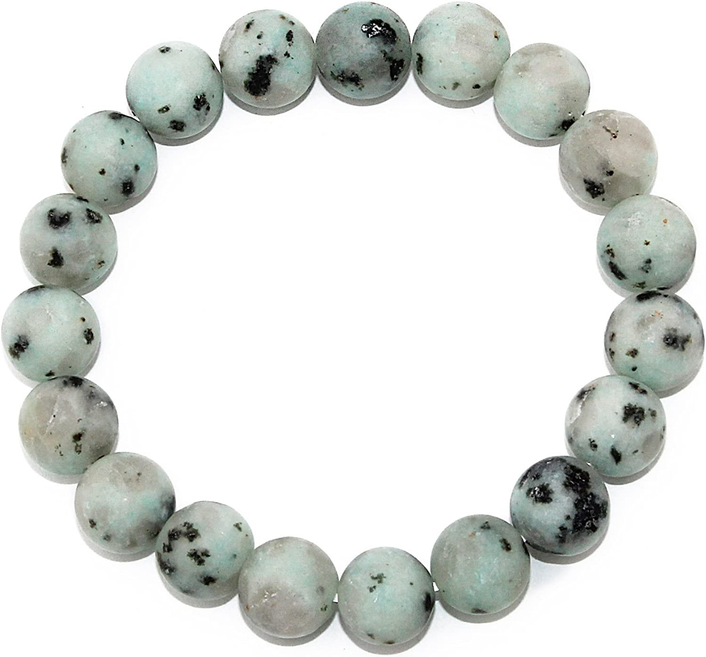 POMINA Natural Earth Healing Semi Precious Round Gemstone Stretch Bracelet Set for Women Men