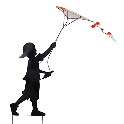 "Alpine Corporation Solar Boy Silhouette Flying Kite Decor with LED Lights - Outdoor Yard Art Decor - 33"" x 9"" x 41"" : Garden & Outdoor"