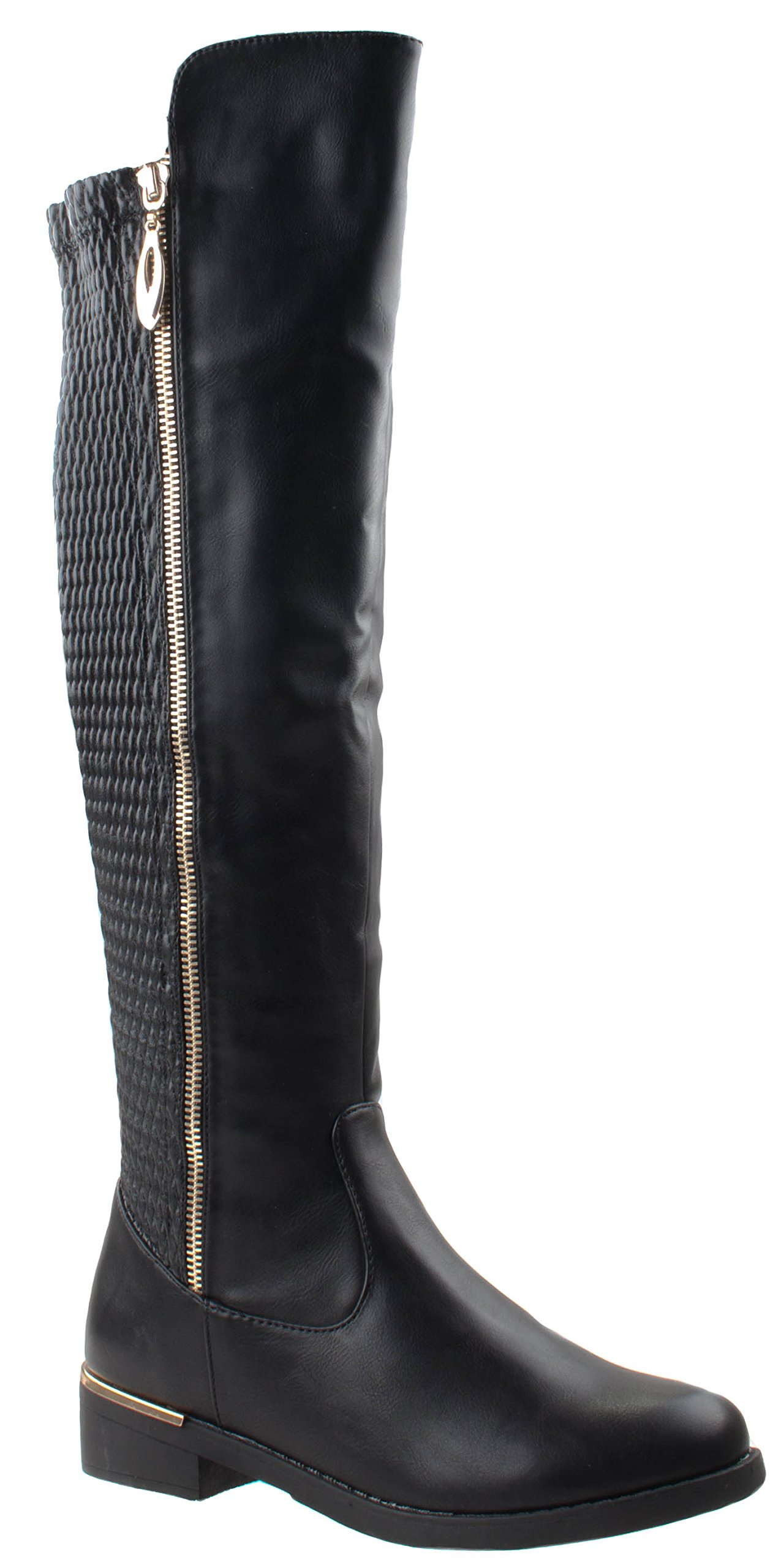 Top Moda Shoes Women's Ginger-5 Black Riding Round Toe Knee High Boots Stretch Elastic Shaft Wide Calf 7.5 D(M) US