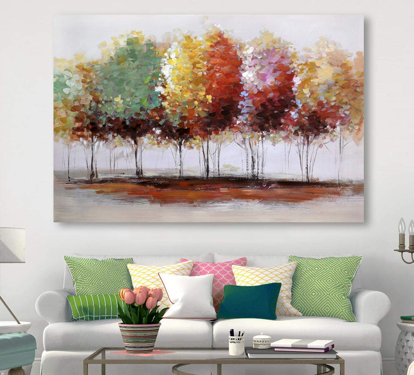 Tree Canvas Prints Wall Art For Home Decor Large Colorful Trees Branches Oil Paintings 3d Hand Painted Forest Pictures For Living Room Bedroom