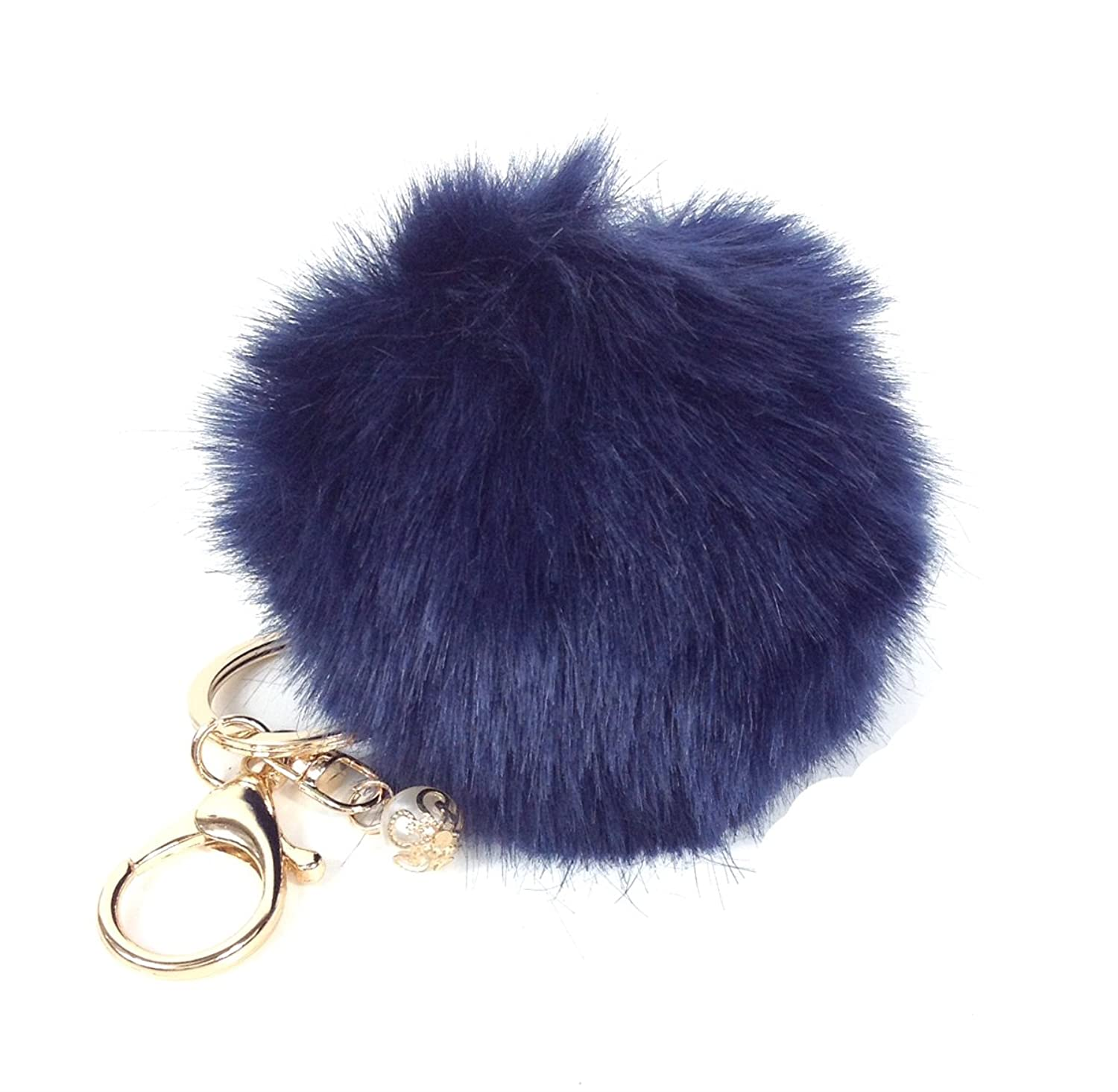 Fashion Culture Faux Fur Pom Pom Purse Charm Keychain