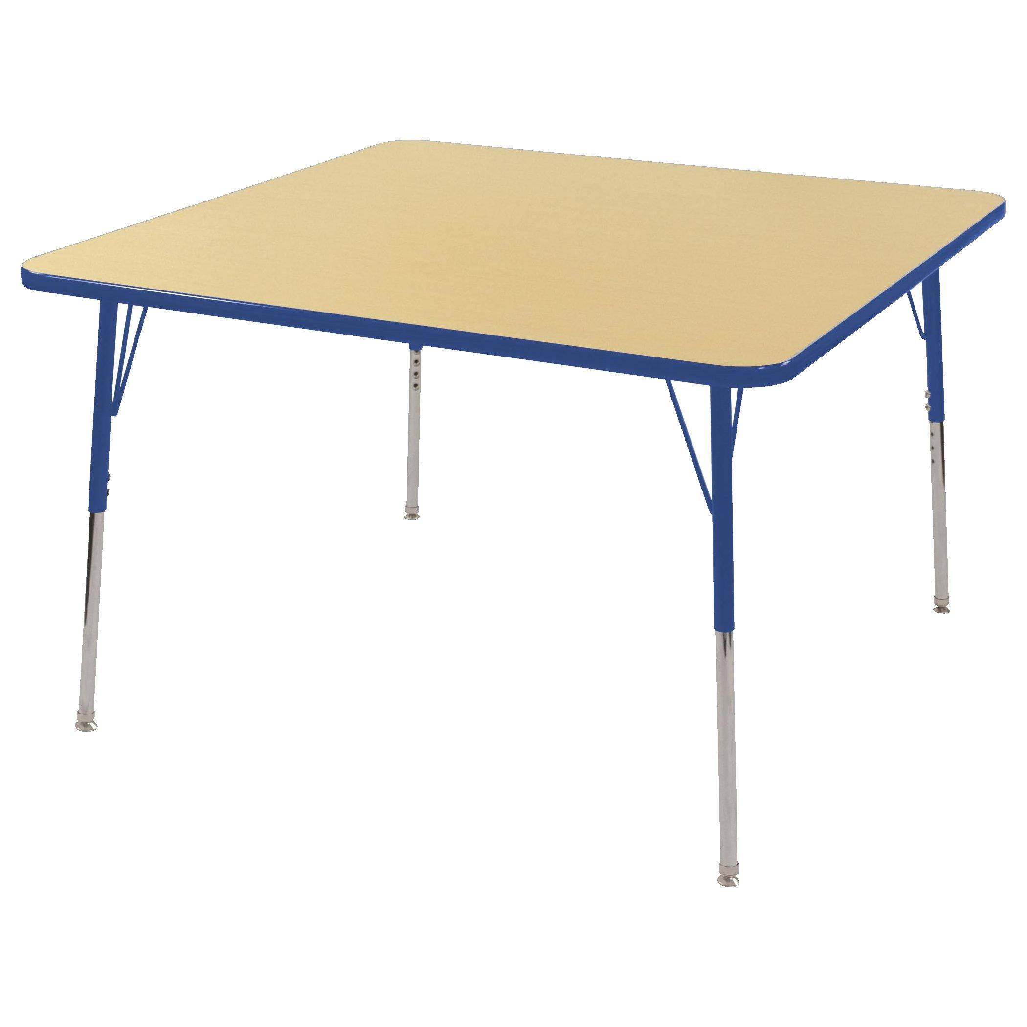 ECR4Kids 48'' Square Activity School Table, Standard Legs w/Swivel Glides, Adjustable Height 19-30 inch (Maple/Blue)