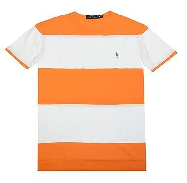 Polo Ralph Lauren Men Wide Stripes Pony Logo T-shirt (XL, Orange ...