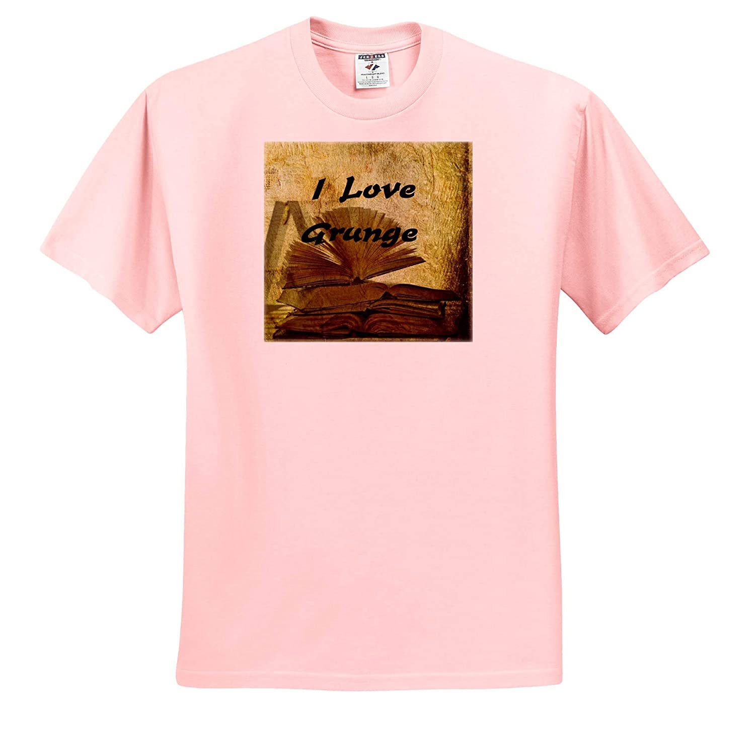 I Love Books 3dRose Lens Art by Florene Image of I Love Grunge On Pile of Grungy Books ts/_312620 Adult T-Shirt XL