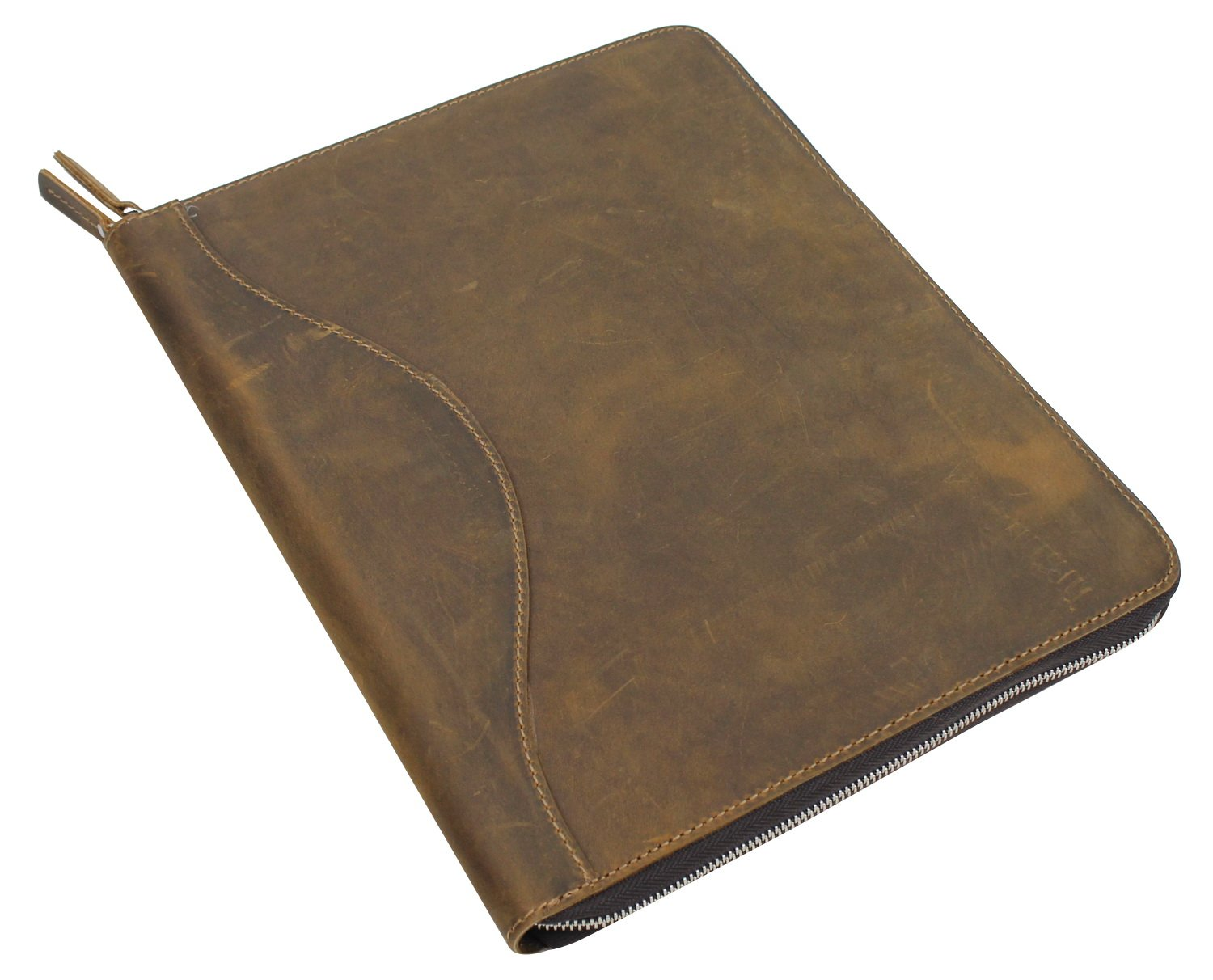 Cowhide Leather Large Portfolio Business Folder. LH08. Vintage Brown