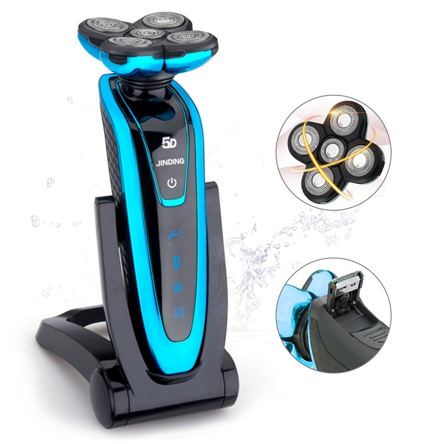 Electric Rotary Shaver for Men, JINDING 5580 Wet Dry Cordless Electric Shaver with Sideburn Trimmer and Rechargeable Base Belita Amy