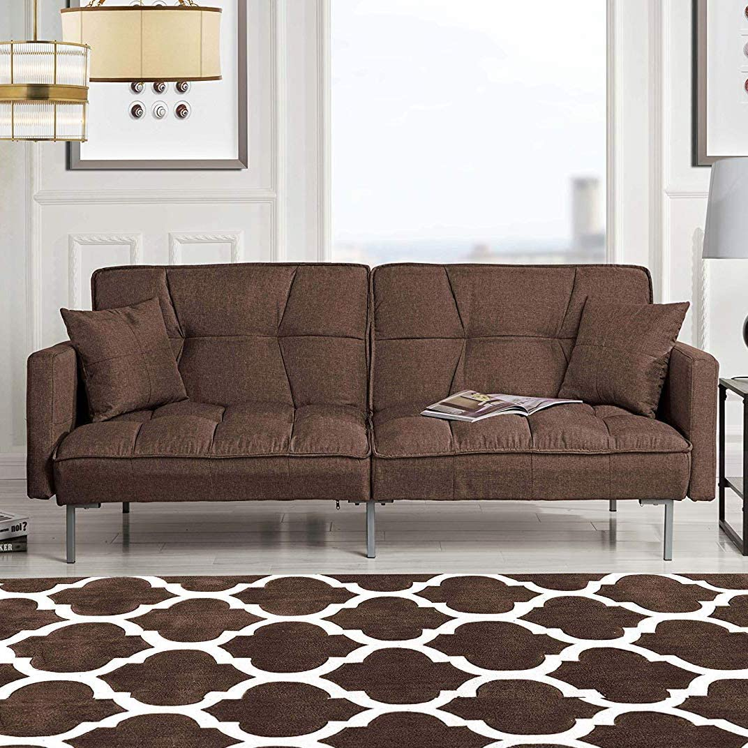 Divano Roma Furniture Modern Plush Tufted Linen Fabric Sleeper Futon