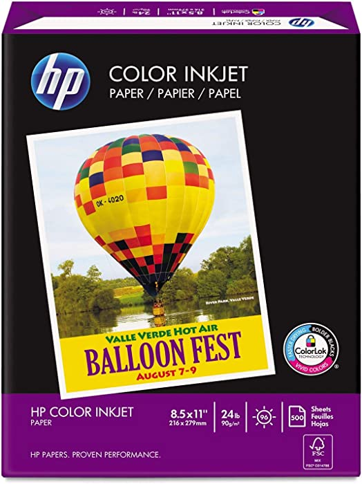 HP - Color Inkjet Paper, 96 Brightness, 24lb, 8-1/2 x 11, White, 500 Sheets/Ream 20200-0 (DMi RM