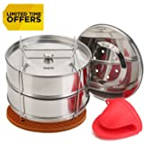 [Upgraded] Stackable Steamer Insert Pans for 6 8 Quart Instant Pot & Pressure Cooker - 2 Tier Steam Pans + 2 Interchangeable Lids - Pot in Pot Accessories to Bake, Reheat - Cook Recipes Included